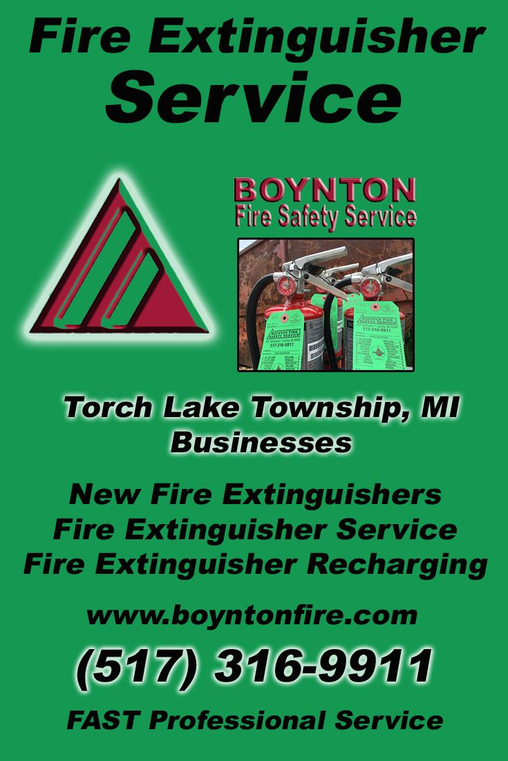 Fire extinguisher service torch lake township mi 517 316 9911 we