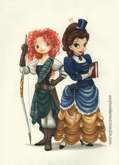Steampunk Merida and Belle.  Steampunk Belle is my new favorite.  By the always awesome Amy Mebberson