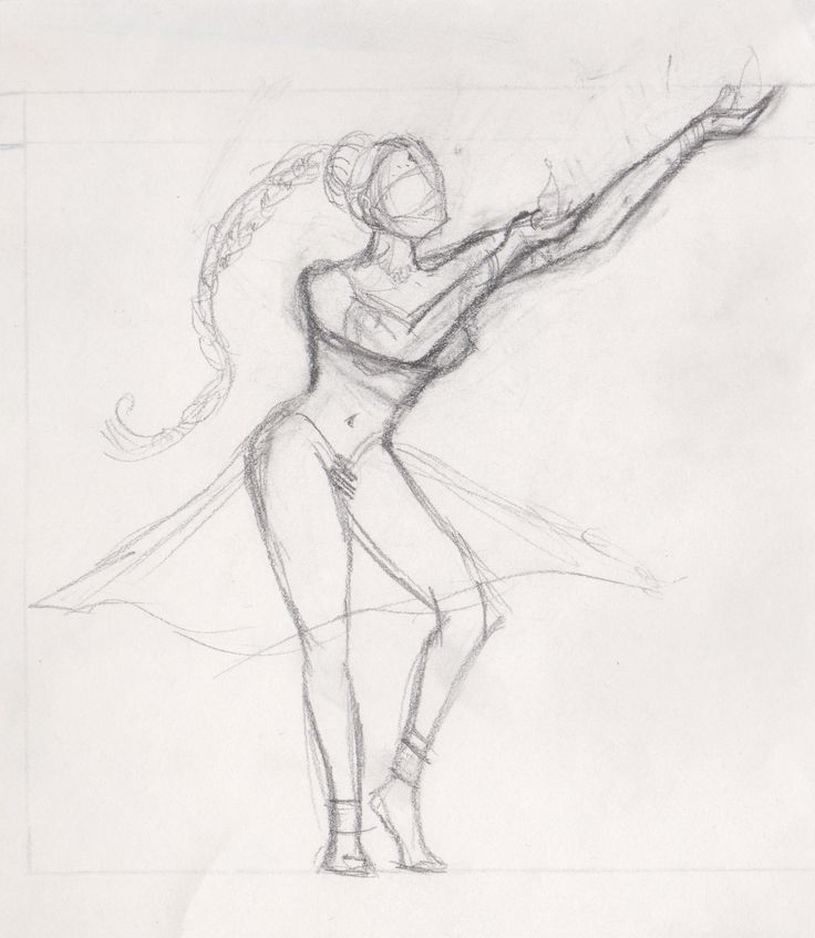 Preliminary pencil sketch for 'Fire Lotus Dancer' painting
