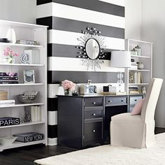 Recreate this chic, black and white striped accent wall in 5 simple steps. #diy #paint