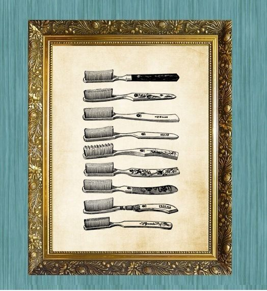 Toothbrush Print Bathroom Print by HamiltonHousePrints2 on Etsy