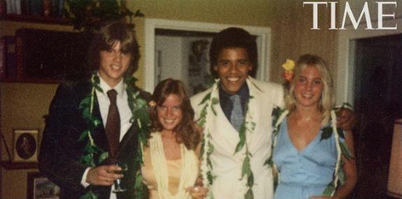 President Obama's 1979 high school senior prom photo. From left: Greg Orme, Kelli Allman, Barack Obama and Megan Hughes at Allman's parents' house in Honolulu.