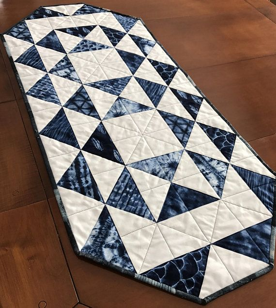 Shibori Quilted Table Runner, Blue and White