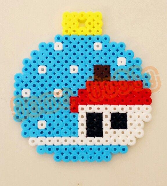 Christmas bauble ornament hama perler beads by Love Cupcoonka - www.facebook.com/hamabeadshobby