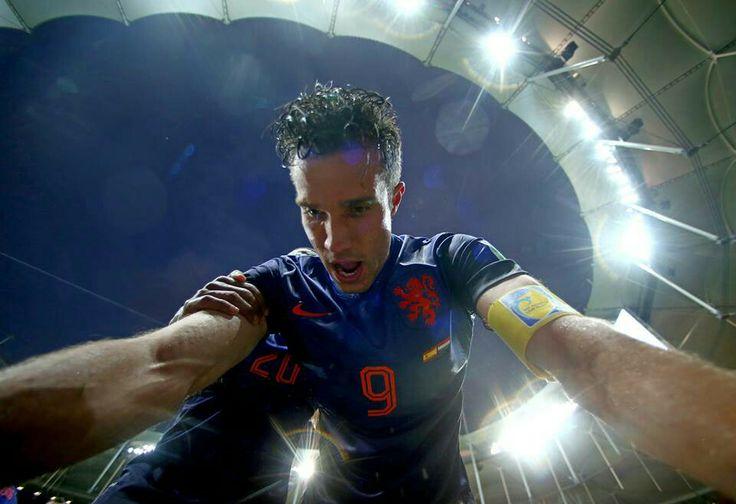 Robin Van Persie celebrates his brace. Spain 1 - Holland 5