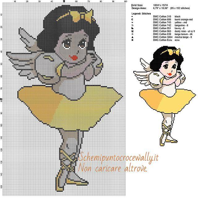 Biancaneve ballerina schema disney a punto croce gratis 100x157 9 colori