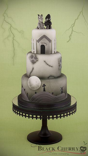 Frankenweenie Cake, via Flickr. - love how identifyibly TIM Burton this is!
