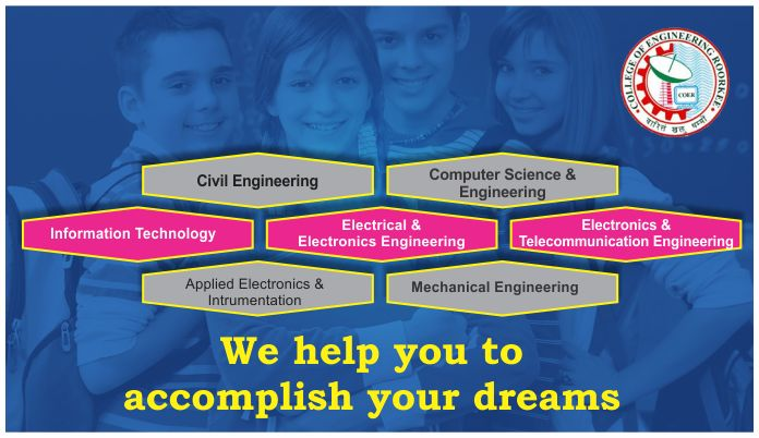 There are vast variety of courses offered to the students pursuing B.Tech.  Some undergraduate courses offered by COER are: • Civil Engineering • Computer Science & Engineering • Information Technology • Electrical & Electronics Engineering • Plastic & Polymer Engineering • Electronics and Telecommunication Engineering • Applied Electronics & Instrumentation • Mechanical Engineering All the labs of the mentioned above courses are well equipped with the latest technologies.