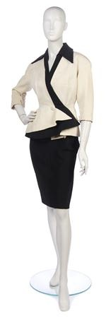 A Jeanne Paquin Cream and Black Corded Silk Skirt Suit
