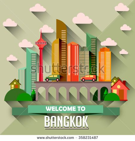 Bangkok - Flat design city vector illustration - stock vector