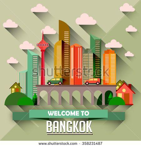 Bangkok - Flat design city vector illustration - stock vector