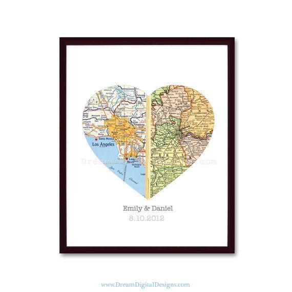 Personalized Heart Map Print Custom Wedding by DreamDigitalDesigns