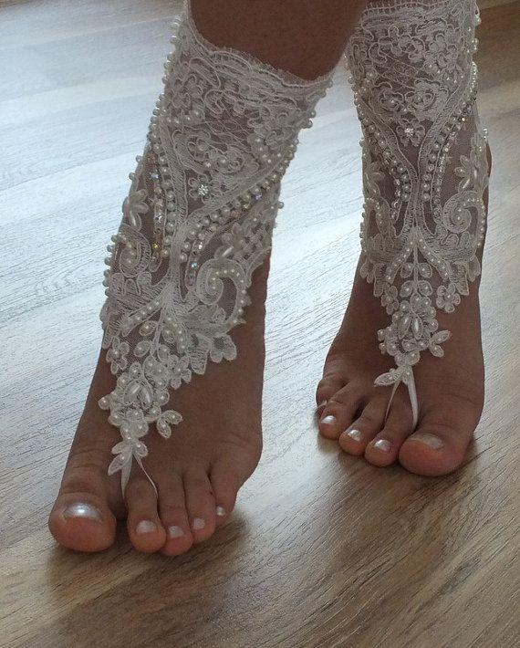 beach shoesUnique design bridal sandals lariat by Theworldofbrides, $49.00