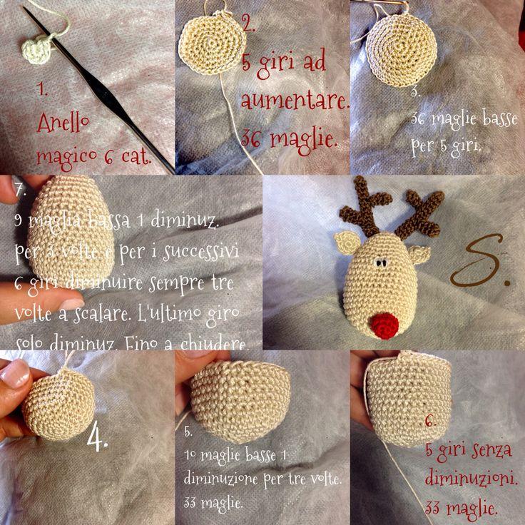 Tutorial 1^ passo renna Rudolph amigurumi crochet. Uncinetto natalizio. La testa.