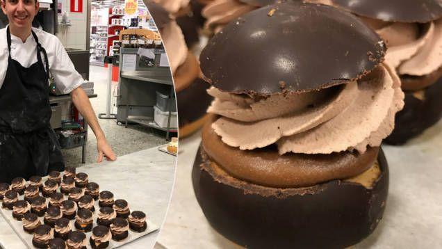 Underbar semla med nutella, kakaogrädde och chokladdoppade bullar.