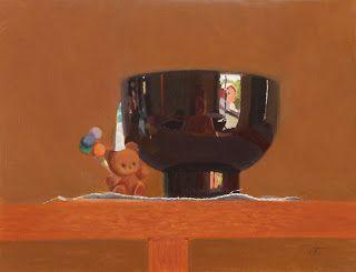 "Teddy Bear Brooch & Rice Bowl Reflections by Charmaine P Jackson Oil on 6""x8"" linen"