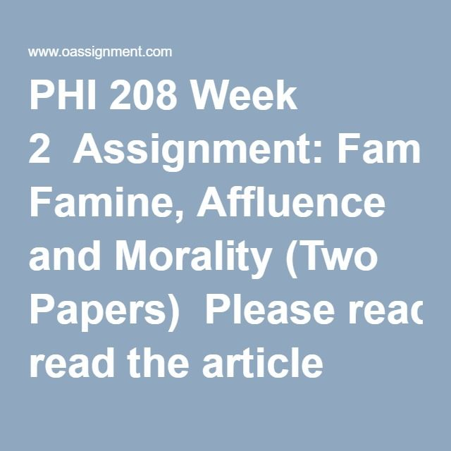 II Is Failing to Give to Famine Relief Wrong     Arthur s     Essay Academic Writing Service Singer Famine Affluence Morality