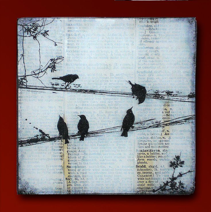 Black Birds on a Wire Handmade Glass and Wood Wall Blox from Upcycled Dictionary page book art - WilD WorDz - Carriers of the Word 3 of 4. $27.50, via Etsy.