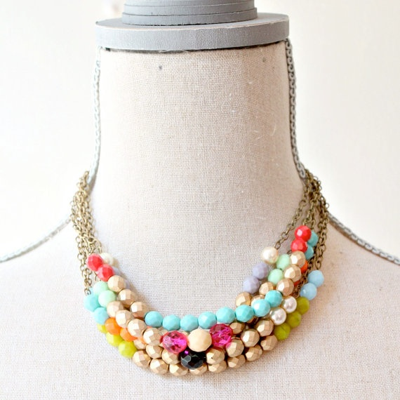 The Super Six Strand Chunky Beaded by NestPrettyThingsShop on Etsy, $128.00: Stand Colorblock, Beaded Necklaces, Jewelry Necklaces, Diy Necklaces, Bold Necklaces, Style, Necklaces Necklaces, Colorblock Beaded