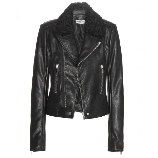 Balenciaga Leather Jacket ($2,635) ❤ liked on Polyvore featuring outerwear, jackets, black, real leather jacket, leather jacket, genuine leather jacket, black jacket and balenciaga jacket