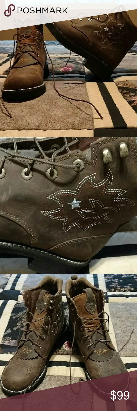 Ariat work boots NWOT. Saddle brown w/ cute stitching. Ariat Shoes Lace Up Boots