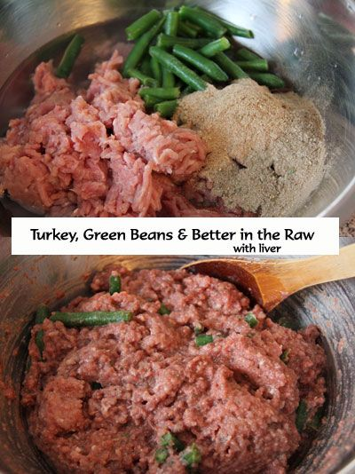 Homemade RAW Dog Food Recipe - Turkey, Green Beans & Better in the Raw with liver