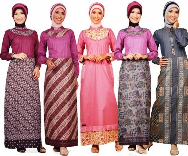 20+ Model Gaun Batik Wanita Muslimah Cantik Elegan Trendy 2017