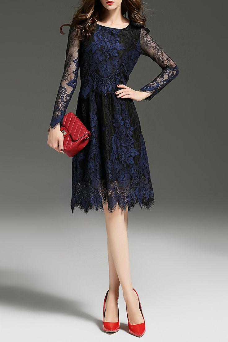 Krush.miu Purplish Blue Pleated A Line Lace Dress | Knee Length Dresses at DEZZAL