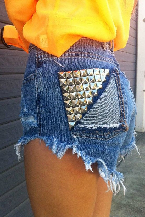 Vintage High Waisted Jean Shorts and Studded Fold-Over Pocket. $50.00, via Etsy.