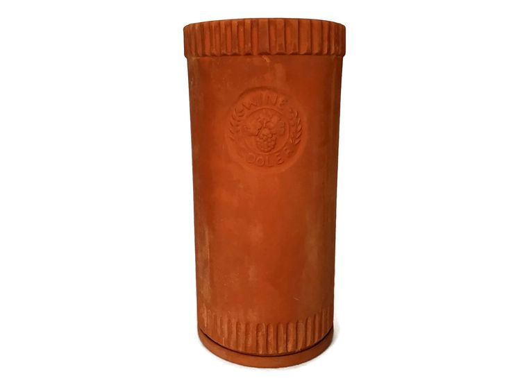 Blue Mountain Pottery Wine Cooler, Terracotta Wine Holder, With Coaster