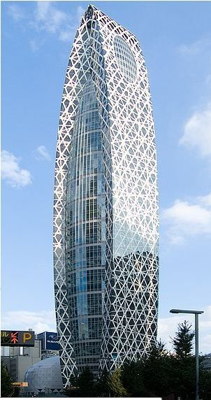 Mode Gakuen Cocoon Tower, Tokyo, Japan 2008. Tange Associates. This building is the home to three educational institutions, the designer said the cocoon shape symbolizes the nurturing nature of the building. The chaotic, crisscross structure on the outer portion of the building contrasts nicely with the vertical and horizontal lines on the middle part of the structure.