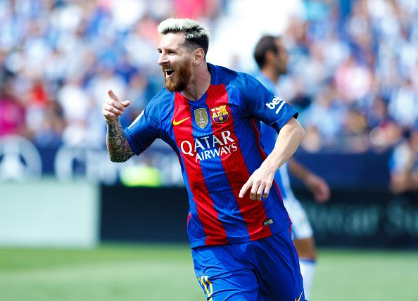 Lionel Messi of FC Barcelona celebrates a goal during the Spanish League 2016/17…