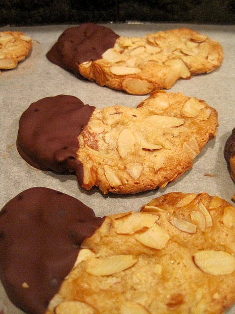 Chocolate-Dipped Marzipan Almond Crescent Cookies by spachethespatula, via Flickr