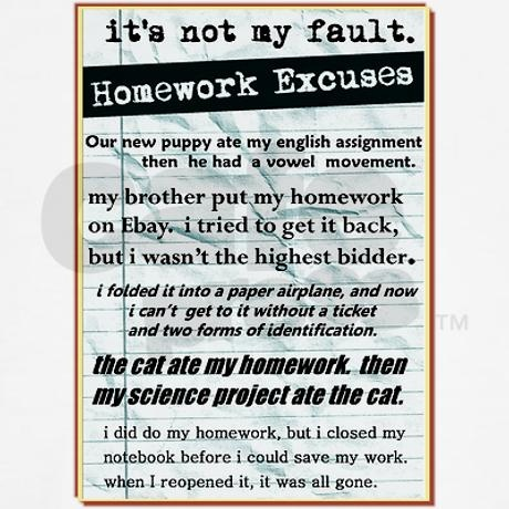 top 10 excuses for not doing your homework Popular posts 10 best excuses for not doing your homework how to cope with exam failure tips for tutors: 12 teaching strategies for effective learning.