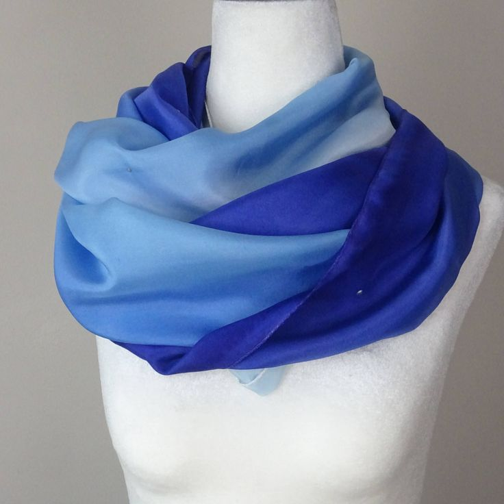 Painted Silk Scarf, Handmade, Dotted Royal Blue Gradient. Approx  17 X 73 inches by SeesaSilk on Etsy