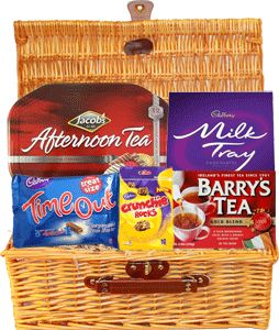 Food Ireland Afternoon Tea Gift Basket $89.99 - Treat someone special to our delicious Afternoon Tea Gift Basket -Jacobs Afternoon Tea 1kg (35.2oz), Milk Tray 400g (14.1oz), Timeout Treatsize 208g (7.3oz), Barrys Gold 80 Tea Bags 250g (8.8oz), Crunchie Rocks 145g (5.1oz).