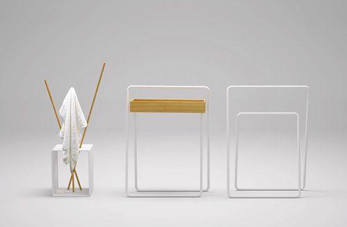 Minimalist Bathroom Furniture in Larch Wood by Bisazza Bagno - Nendo