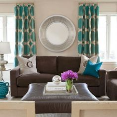 Teal Gray Living Room With Brown Leather Couch