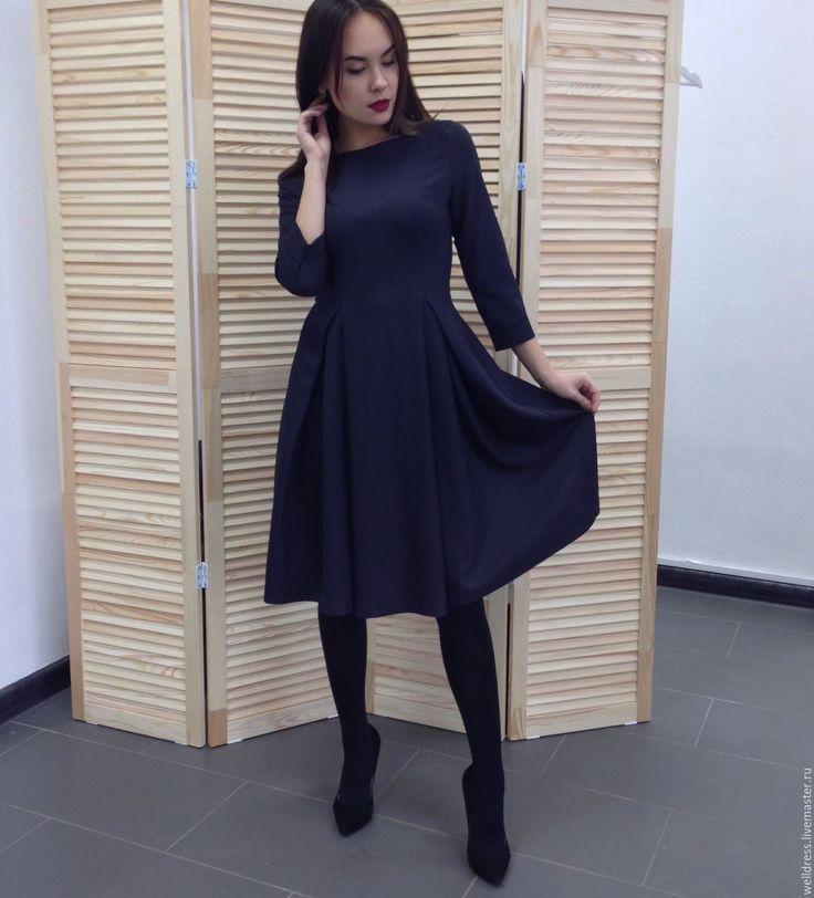 Купить Платье с юбкой в складку - темно-серый, платье, юбка в складку, осень, зима, вискоза