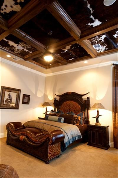 LOVE the ceiling!: Dreams Bedrooms, Westerns Bedrooms Ideas, Cowhide Ceilings, Ranch Style, Houses Ideas, Ceilings Tile, Cool Ideas, Bathroom Decor, Westerns Decor