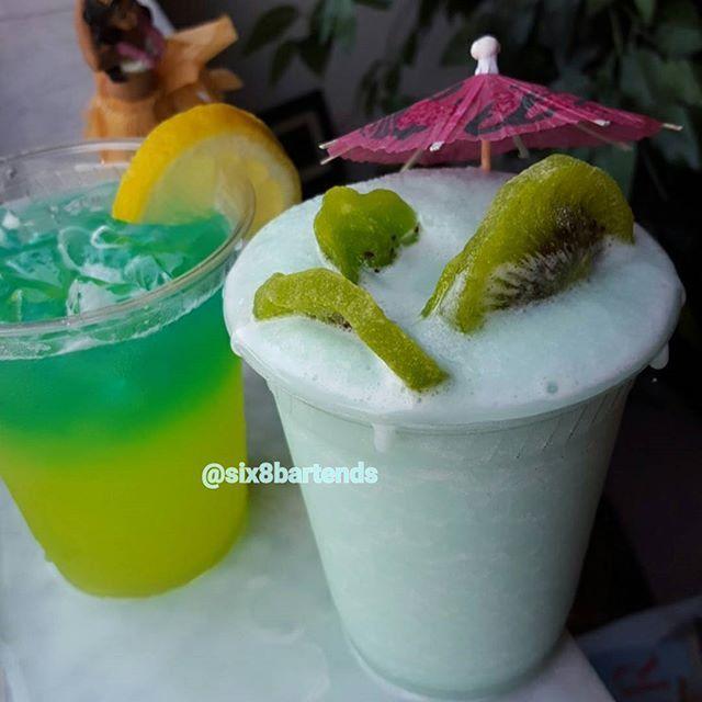 """Island Coolers"" (Double Feature)  #six8drinks #cocktails #island #drinks #summer #vacay  Melon Cooler: Vodka ginrummelon liqueur lemonade triple sec blue curacao strain over ice Garnish w lemon. ------------------------------------------------------- Curacao Cooler: Blend White rum vodka pina colda mixfresh pineapple slices blue curacao ice. Garnish w Dried Kiwi pieces  #mixologist #bartender #indie #vacation #hawaii #london #france #mixology #vodka #rum #martini #instapic #food #juice…"