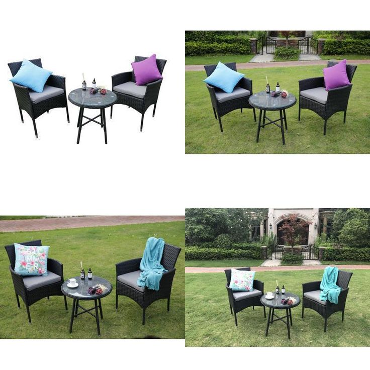 Round Coffee Table Set and Sofa Chairs Garden Furniture Patio Conservatory Black