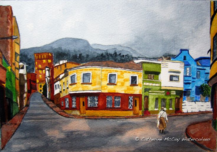 """In Bogata. Watercolour 8"""" x 10"""" by Catherine McCoy"""