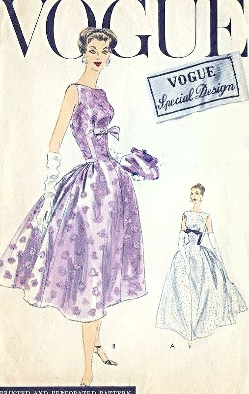 1950s Stunning Evening Gown Cocktail Party Dress Pattern Vogue Special Design 4707 Vintage Sewing Pattern Fitted Bodice Bateau Neckline Full Skirt Center Back Inverted Pleat Gathered Fullness At Sides Bust 34