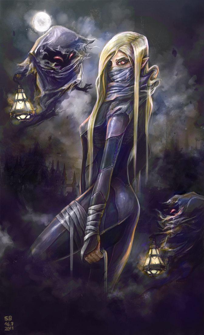 Sheik (Princess Zelda's alter ego) surrounded by poes - The Legend of Zelda: Ocarina of Time