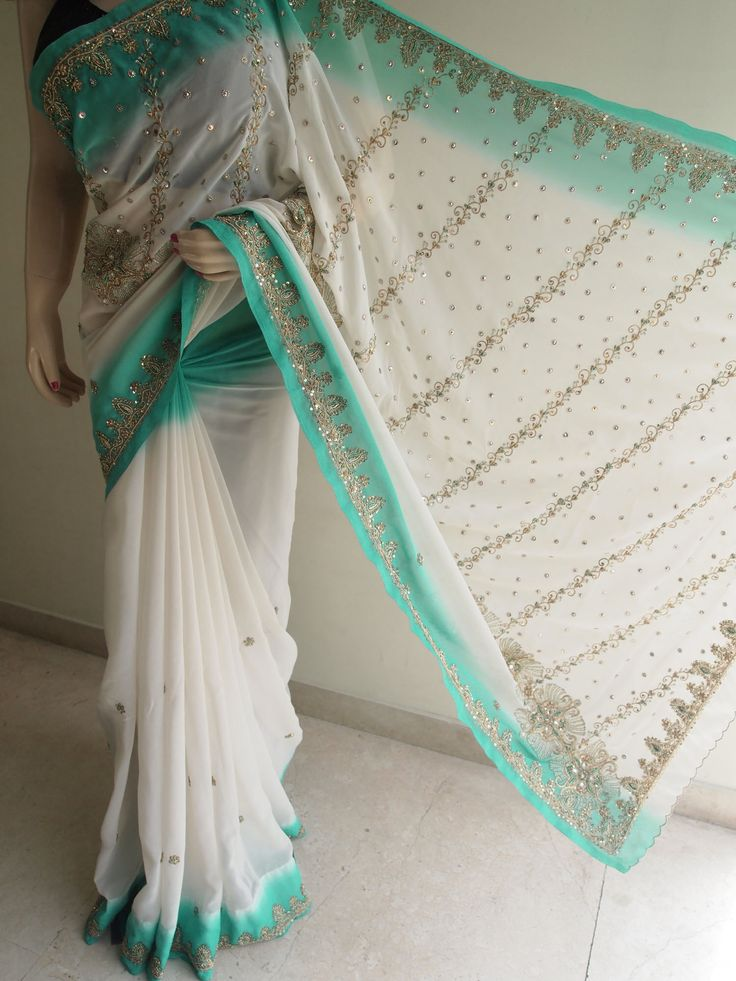 Cream Georgette Saree With Sequins & Beads Work