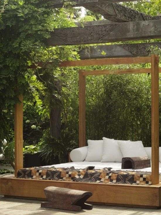 Urban Zen Outdoor Bed by Donna Karan-Traditional Balinese furniture Inspired