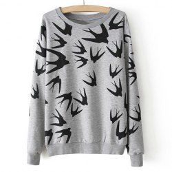 $11.94 Casual Style Round Neck Contrast Color Swallow Print Long Sleeve T-Shirt For Women