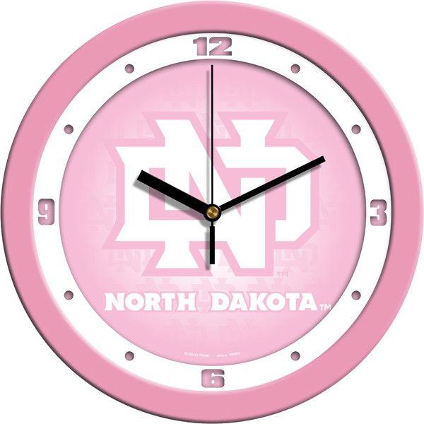 Ladies North Dakota Fighting Hawks - Pink Wall Clock