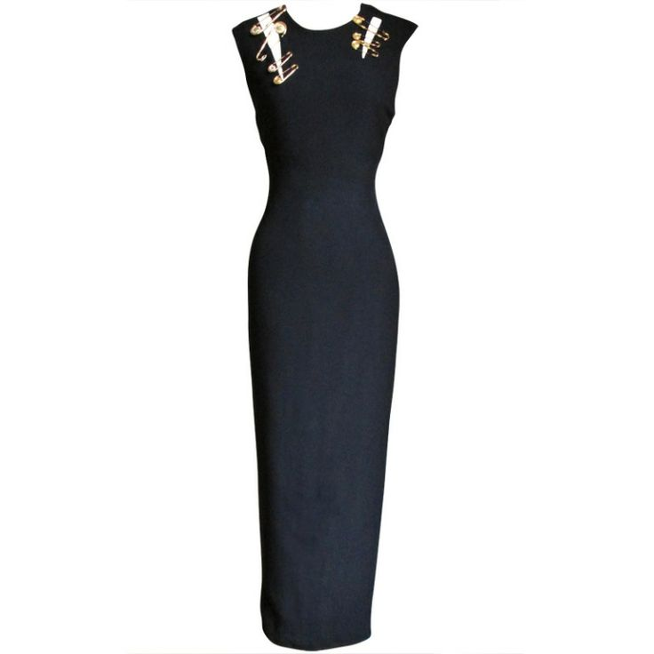 Iconic Gianni Versace Couture Safety Pin Dress | From a collection of rare vintage evening dresses at http://www.1stdibs.com/fashion/clothing/evening-dresses/